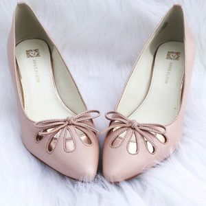 Anne Klein Pink Bow Cut Out Heels